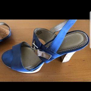 Easy Spirit blue heeled sandals sz 8